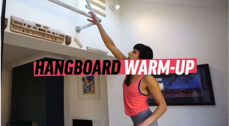Video title screen for hangboard warm up training