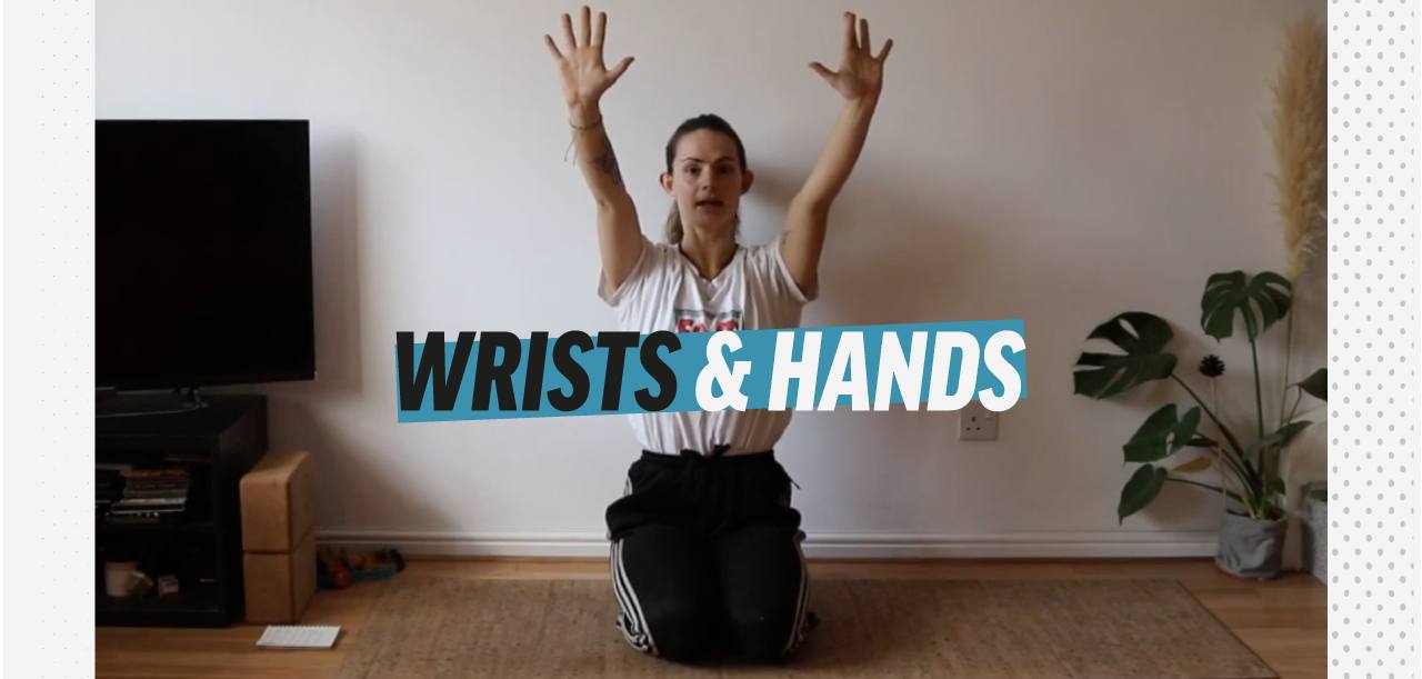 Video title screen for wrists and hands training at home