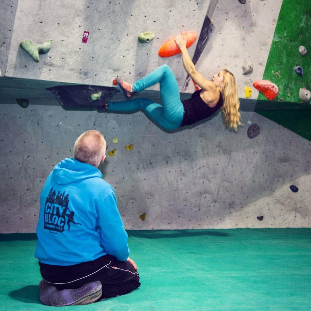 climber being coached at City Bloc Leeds